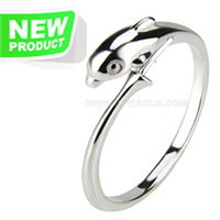 Silver plated dolphin adjustable pearl ring fitting