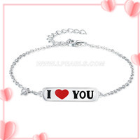 Valentine&#39s design 925 sterling silver I love you bracelet ac