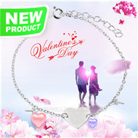 Fashion 925 sterling silver Love shape DIY bracelet accessary