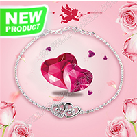 Valentine&#39s design 925 sterling silver Twins heart shape brac
