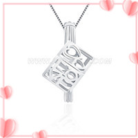 S925 sterling silver LOVE cube pearl cage pendant for women