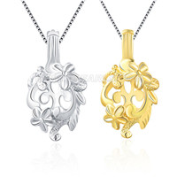 wholesale 925 sterling silver flower cage pendant