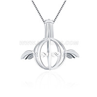 Romantic 925 sterling silver angle ball cage pendant