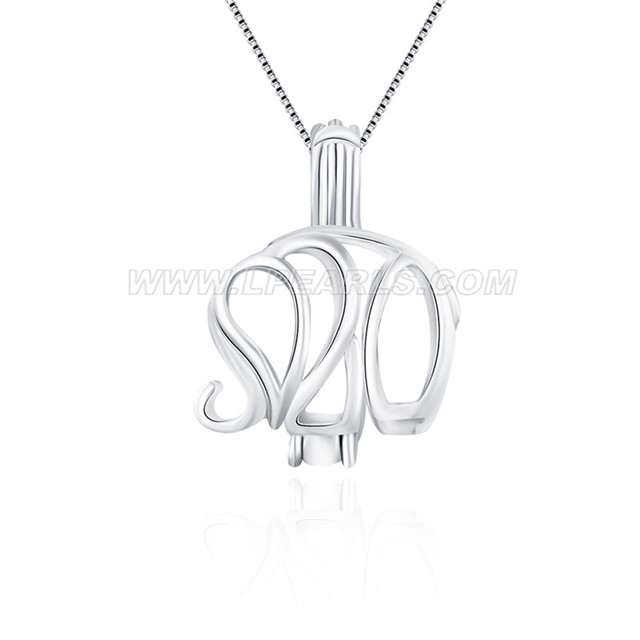 925 sterling silver elephant shaped cage pendant