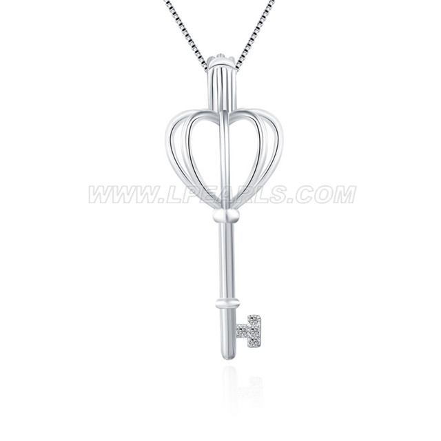 925 sterling silver girls heart key cage pendant