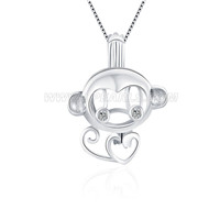 Lovely Monkey 925 sterling silver cage pendant