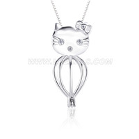 Lovely 925 sterling silver Kitty heart cage pendant