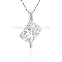 925 sterling silver cube cage pendant