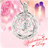 Latest 925 sterling silver round flower cage pendant