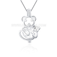 Hug Bear 925 sterling silver cage pendant