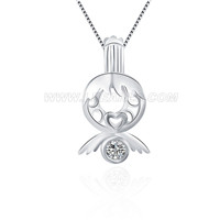 925 sterling silver Little angle with zicon locket pendant