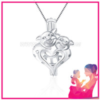 925 sterling silver twin pig on the heart locket pendant