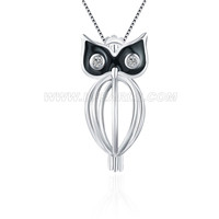 925 sterling silver owl with zicons locket pendant
