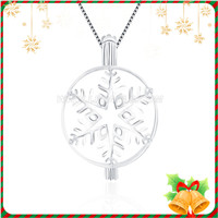 Christmas design 925 sterling silver Snowflake cage pendant