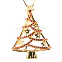 925 sterling silver gold plated Christmas tree cage pendant
