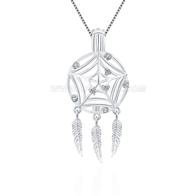 New design 925 sterling silver dream catcher cage pendant lp pearl new large size 925 sterling silver dream catcher cage pendant aloadofball Choice Image