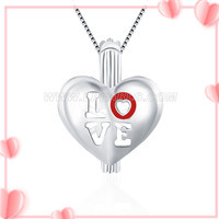 Love design 925 sterling silver Heart cage pendant