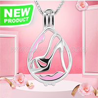 Latest design 925 sterling silver High-heeled shoes cage pendant