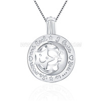 925 sterling silver Moon and Star shape cage pendant