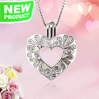 Beautiful heart shape 925 sterling silver cage pendant