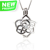Nice 925 sterling silver gilrs bloom cage pendant