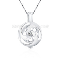 925 sterling silver bloom pearl cage pendant for women