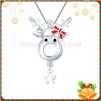 925 sterling silver Christmas deer women locket pendant