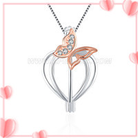 S925 sterling silver CZ flying butterfly heart pearl cage pendan