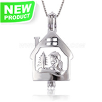 S925 sterling silver Christmas tree house pearl cage pendant