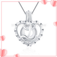 S925 sterling silver Initial L love pearl cage pendant for women
