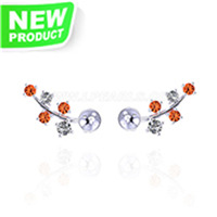 925 Sterling silver red zircon pearl women stud earring settings