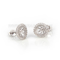 Fashion 925 sterling silver round flower earring fitting
