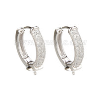 Fashion 925 sterling silver round shap earring fitting