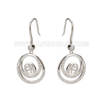 Fashion 925 sterling silver double rings shap earring fitting