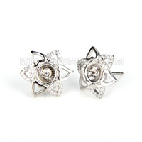 Fashion 925 sterling silver heart petal flower earring fitting