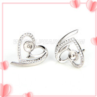 Fashion 925 sterling silver heart earring fitting