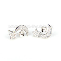 Fashion 925 sterling silver togethering moon and star earring fi