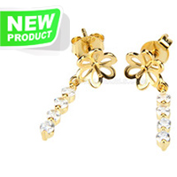 Latest 925 sterling silver gold plate flower earring fitting