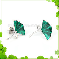 Fashion 925 sterling silver greenl lotus leaves earring fitting