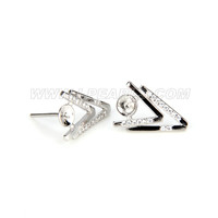 Fashion 925 sterling silver double V earring fitting
