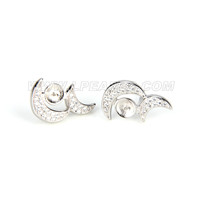 Fashion 925 sterling silver moon sisiters earring fitting