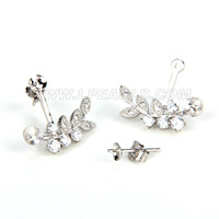 Fashion 925 sterling silver Leaves earring fitting
