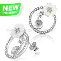 Beautiful 925 sterling silver Round shape earring fitting