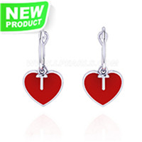 925 Sterling silver red heart Pearl earring fitting for women