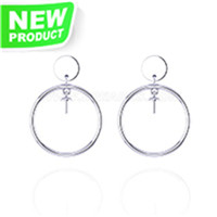 925 Sterling silver CZ Pearl round earrings fitting for women