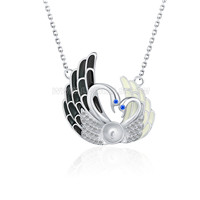 love swan 925 sterling silver pearl pendant necklace accessory
