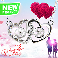 Valentine&#39s Design 925 sterling silver Twins Love necklace ch