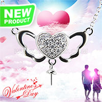 Valentine&#39s Design 925 sterling silver Angel Love necklace ch