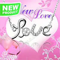 Valentine&#39s Design 925 sterling silver Love necklace chain mo