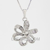 wholesale Ribbon Flower 925 silver pearl pendant accessories